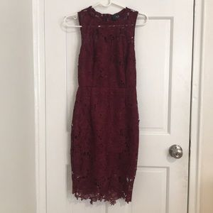 AX Paris Burgundy/Wine Bodycon/Fitted Lace Dress
